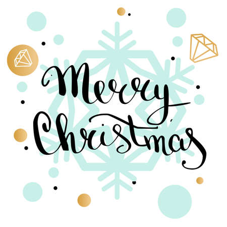 Merry Christmas handwriting lettering greeting card with geometric form, snowflake, diamond. low poly style jewel shape in golden glitter background. Calligraphy lettering. Vector illustration EPS 10.