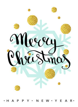 Merry Christmas handwriting lettering greeting card with geometric form, snowflake. low poly style jewel shape in golden glitter background. Calligraphy lettering. Vector illustration EPS 10. Illustration