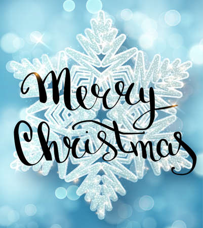 Merry Christmas lettering greeting card for holiday. Decoration ornament with with snowflake pattern. Calligraphy Christmas lettering. Vector Illustration EPS10