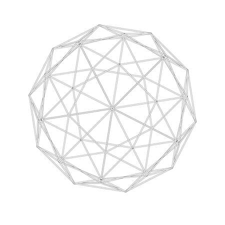 Geodesic grid. Meshes. Sacred Geometry. The intersection of geometric lines. A clear increase in weight. Increasing. exahedron. Hexagonal shapes set. Crystal forms. Hexagons vector illustration