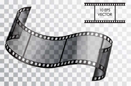 Realistic 3D film. Curved film. Isolated object on a transparent background. Vector illustration.