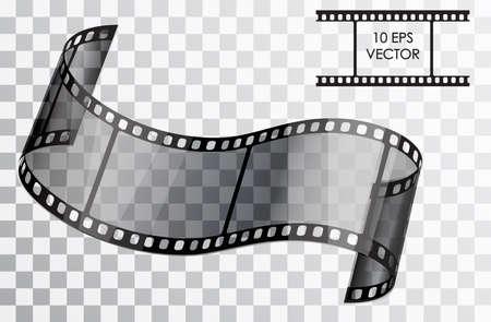 現実的な 3 D 映画。湾曲した映画。透明な背景に孤立したオブジェクト。ベクトルの図。  イラスト・ベクター素材