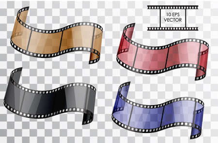 Realistic 3D film. Curved film. Isolated object on a transparent background. Vector illustration.  A set of a film in different colors blue, red, brown, black. Illustration