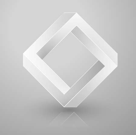 impossible geometry. Optical illusion triangle. Vector Illustration isolated on white. Sacred geometry. Futurism. 矢量图像