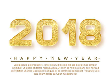 2018 Happy new year. Gold Numbers Design of greeting card. Gold Shining Pattern. Happy New Year Banner with 2018 Numbers on Bright Background. Vector illustration. Stock fotó - 80121927