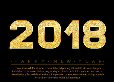 2018 Happy new year. Gold Numbers Design of greeting card. Gold Shining Pattern. Happy New Year Banner with 2018 Numbers on Bright Background. Vector illustration. Vectores
