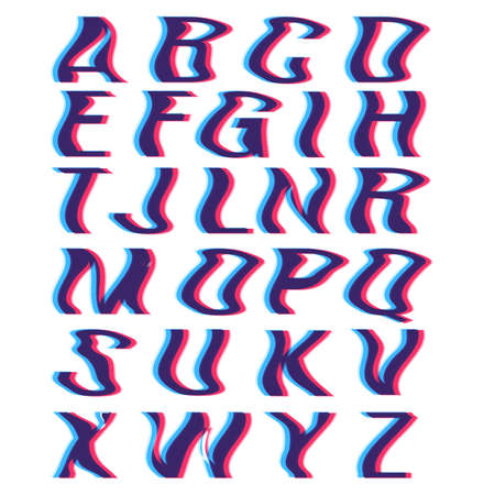 Glitch font with distortion stereoscopic effect. Digital decay. Corrupted image vector file. Letters vector illustration. Glitch in image processing. Digital Effect Alphabet. Vector .