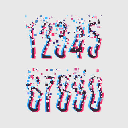 Glitch font with distortion stereoscopic effect. Digital decay. Corrupted image vector file. Numbers vector illustration. Glitch in image processing. Digital Effect Alphabet. Vector . Illustration