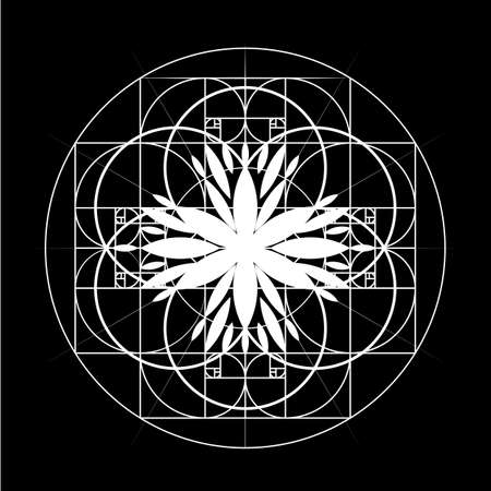 Sacred Geometry. Vector banner for your design Geometric abstraction on a black background. Golden Section. Vector 10 eps Illustration