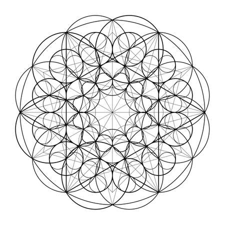 Ornament from circles. Geometric pattern based on the repetition of elements. Sacred Geometry. Template for the mandala. Vector pattern.