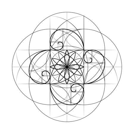 Golden Section. Sacred Geometry. Vector symbol at the intersection for a number of Fibonacci lines. Crossing lines. Intersecting circles. Geometric pattern.  Vector illustrations Illustration