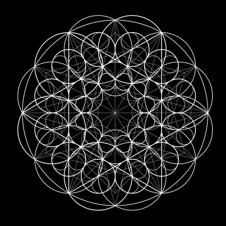 Ornament from circles on black background. Geometric pattern based on the repetition of elements. Sacred Geometry. Template for the mandala. Vector pattern.