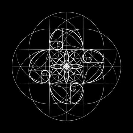 Sacred Geometry. Vector symbol at the intersection for a number of Fibonacci lines. Golden Section. Crossing lines. Ornament. Vector illustrations. Intersection circles