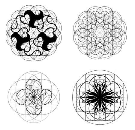 Gulden snede, een verzameling elementen van heilige geometrie. Kruisende lijnen. Kruisende cirkels. Geometrisch patroon. Vectorillustraties 10 eps.