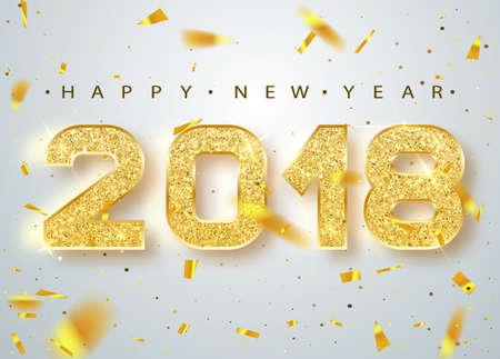 2018 새해 복 많이 받으세요. 골드 번호 떨어지는 반짝이 색종이 인사말 카드 디자인입니다. 골드 빛나는 패턴. 밝은 배경에 2018 번호와 함께 행복 한 새