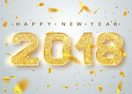 typescript: 2018 Happy new year. Gold Numbers Design of greeting card of Falling Shiny Confetti. Gold Shining Pattern. Happy New Year Banner with 2018 Numbers on Bright Background. Vector illustration. Illustration