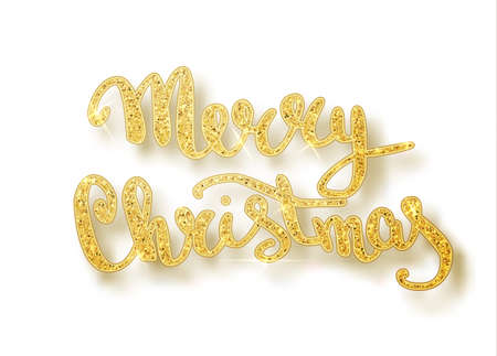 Merry Christmas lettering greeting card for holiday