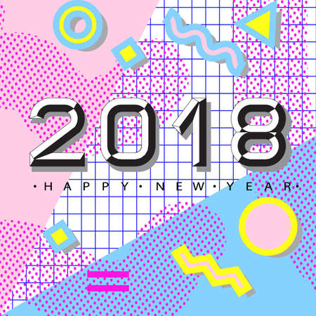 2018 Happy new year. Memphis style. Trendy 80s-90s memphis style. Banner with 2018 Numbers on Bright Background. Geometric trendy design greeting card in memphis, art deco outline style.