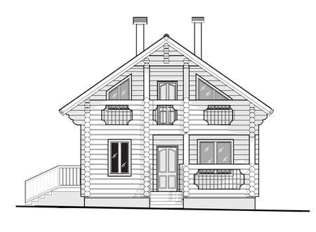 Architectural drawing, cottage house of logs. Vector 10 EPS
