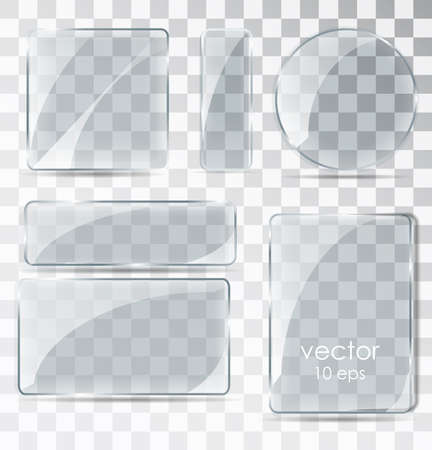Set of glass plates. Flat glass with glare. Glass frame isolated on a transparent background. Vector illustration
