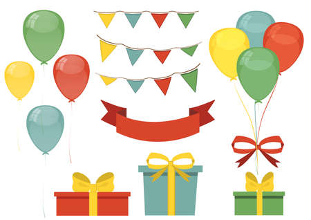 Set design for greeting card. The holiday, birthday. Components of the flat design. Set of balls, flags and gifts in one flat is style. Vector illustrations. Happy Birthday. Illustration