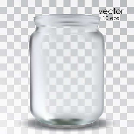 Empty glass jar on a transparent background. Vector realistic object for your design. Package design. 10 eps