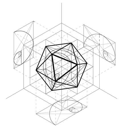 Sacred Geometry construction of the icosahedron. Geometric abstract vector background. Golden Section.