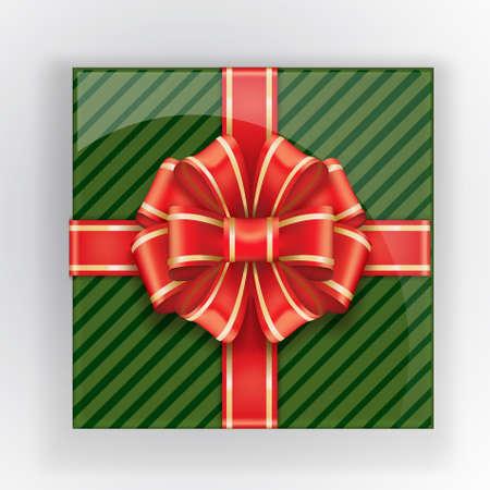 Coffret vert avec une vue de dessus d'arc rouge. Objet réaliste de vecteur. Couleurs de Noël Éléments de décorations de Noël pour votre conception. Objet isolé Arc rouge avec bande dorée.