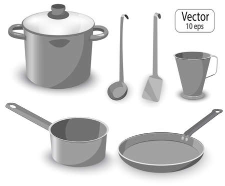 Set of kitchen items for cooking. Pan, saucepan, frying pan. Vector realistic objects. Illustration