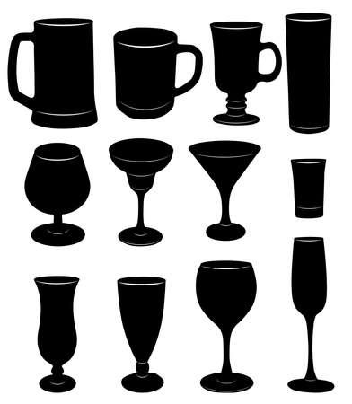 グラス、カップ、ガラスのベクトル シルエット。
