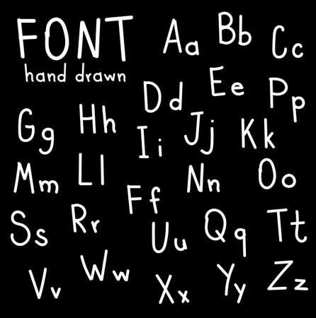 negligent: Hand font draw handwritten alphabet brush style modern calligraphy printed font. Lettering vector font alphabet. Set of vector letters written. Vector Illustrations