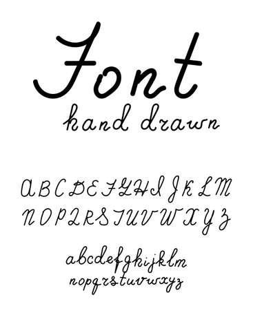 Hand drawn fonts. Handwritten alphabet style modern calligraphy cursive typeface Vector Illustrations