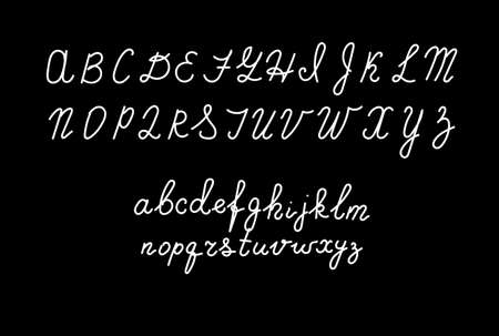 Hand drawn fonts. Handwritten alphabet style modern calligraphy cursive typeface Vector Illustrations