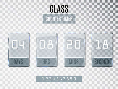 clock: Glass Counter Timer isolated on transparent background.