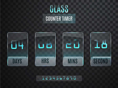 clock: Glass Counter Timer. Transparent vector countdown timer isolated on transparent background. Illustration