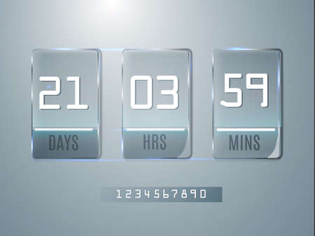 clock: Glass Counter Timer. Banner start end dates for discounts and promotions.