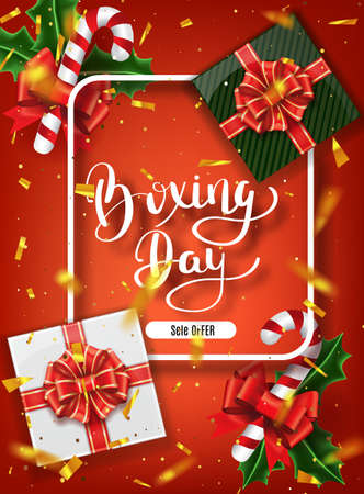 Boxing day banner design. Lettering calligraphy. New Year holidays, traditions. Gift boxes top view. Festive Christmas vector illustration.