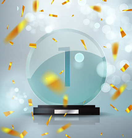 Glass Trophy Award. First place prize plaque. Festive illustration with prize and trophy winner. Golden flickering confetti and flickering glare. Vector transparent object 10 eps.