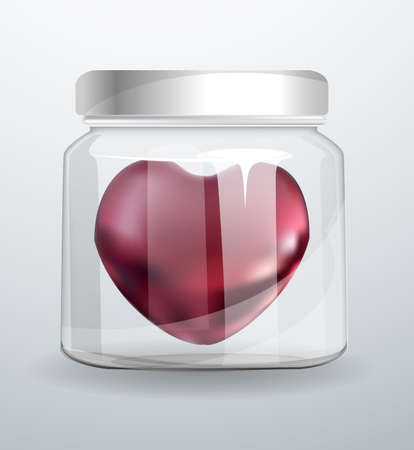 Heart inside a glass jar. Realistic 3D metallic symbol of love inside the glass. Vector illustration on white background.