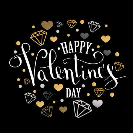 Valentines Day greeting card with geometric form diamond. Calligraphic pen inscription on a black background.