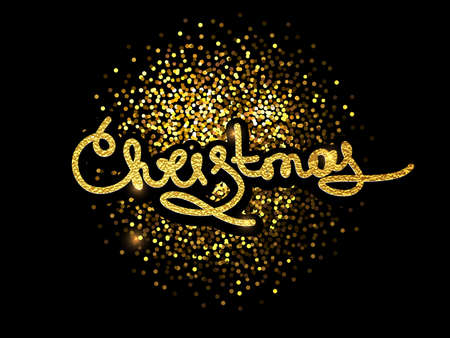 Merry Christmas lettering greeting card for holiday. Decoration ornament with with snowflake pattern. Golden confetti falls. Calligraphy Christmas lettering.