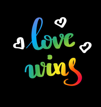 Love wins. Gay pride slogan with hand written lettering. Inspirational LGBT rights concept poster. Homosexuality emblem. Multicolored peace flag movement. Print vector design. Illustration