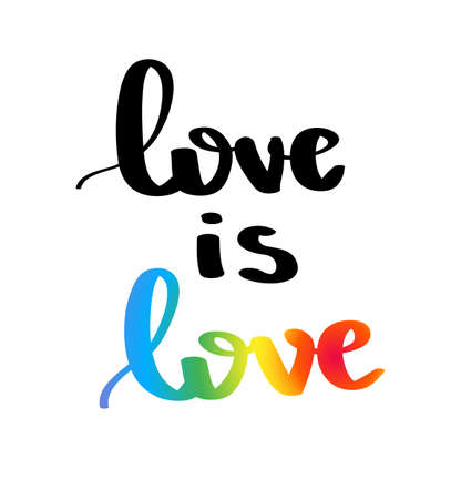 Love is loves Logan with hand written lettering. Multicolored peace flag movement. Illustration