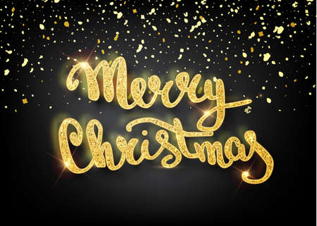 Merry Christmas lettering for greeting card design.