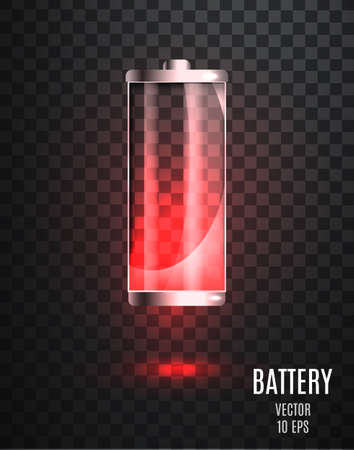 Low battery. Battery charging status indicator. Glass realistic power battery illustration on transparent background. Full charge total discharge. Charge status. Vector. 向量圖像