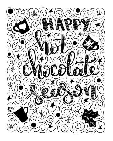 Gelukkig heet chocoladeseizoen - handdrawn illustratie. Handgeschreven kerstwensen voor vakantie wenskaarten. Handgeschreven letters. Winter vakantie. Handgetekende letters. Nieuwjaarskaart ontwerpelementen.