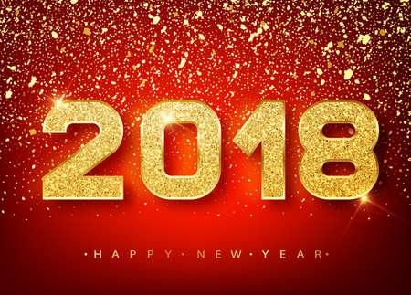 2018 新年あけましておめでとうございます。光沢のある落ちる紙吹雪のグリーティング カードのゴールド番号デザイン。輝く金のパターン。赤の明  イラスト・ベクター素材