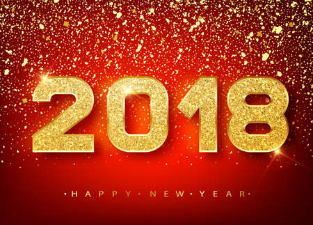 2018 Happy new year. Gold Numbers Design of greeting card of Falling Shiny confetti. Gold Shining Pattern. Happy New Year Banner with 2018 Numbers on red Bright Background. Vector 10 EPS.