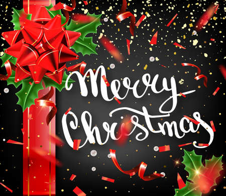 Merry Christmas lettering greeting card for holiday. Gold Shining. Decoration ornament with with snowflake pattern. Golden confetti falls. Calligraphy Christmas lettering. Vector Illustration EPS10.