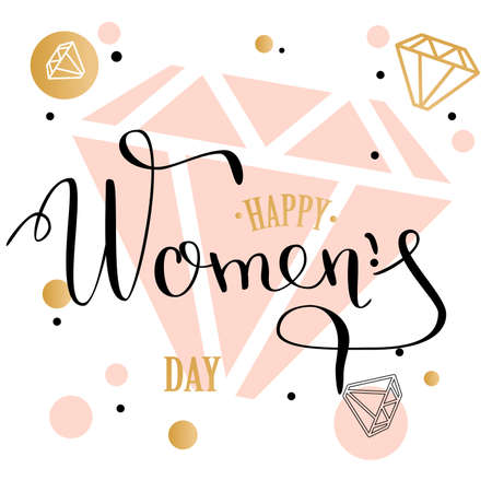 Womans day lettering greeting card with geometric form diamond
